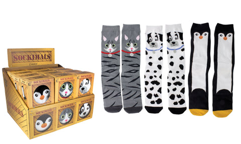 (3 Pack) Sockimals Ladies Animal Face Socks with Gift Boxes, One Size
