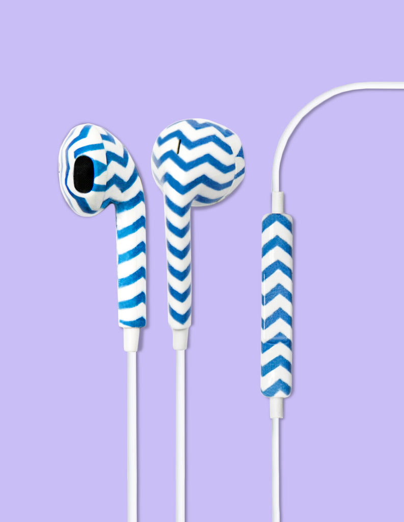 Earbud Headphones - Chevron Blue - Unmanned