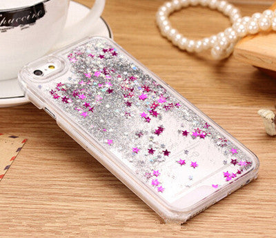 New Fashion Liquid Glitter meteor sand sequins Colorful Dynamic Transparent Hard Mobile Phone cases For iphone4s/5 SE/6 6s/6Plus - Unmanned - 6