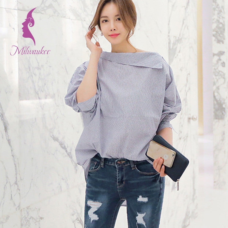 Milwaukee New Arrival Autumn Striped Women Shirt Sexy Clothing Inclined Shoulder Batwing Sleeve Korean Loose Blouse Shirt Top - Unmanned - 2
