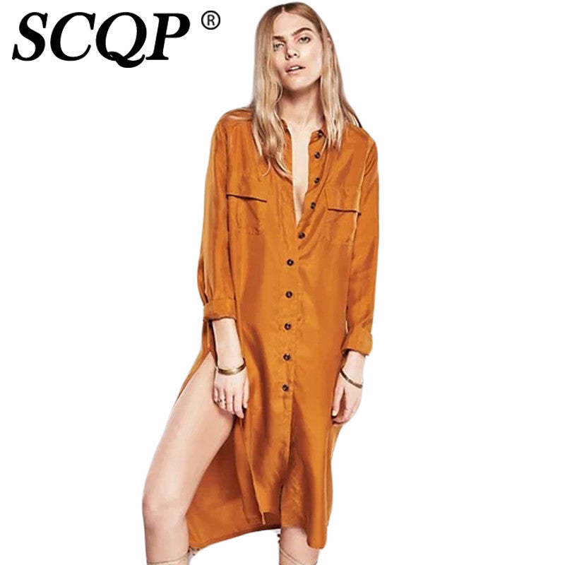 SCQP Orange Cotton Solid Women Shirt Long Sleeve Turn-down Collar Women Tops Long Length Korean Fashion Clothing Ladies Blouese - Unmanned - 1