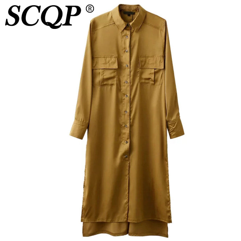 SCQP Orange Cotton Solid Women Shirt Long Sleeve Turn-down Collar Women Tops Long Length Korean Fashion Clothing Ladies Blouese - Unmanned - 2