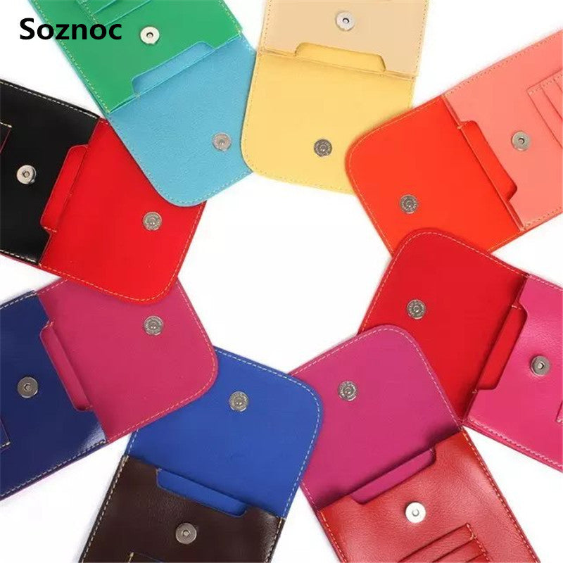 Soznoc Hot Double Card Leather Phone Bag Shoulder Pocket Wallet Pouch Case Neck Strap For Smaller Than 5.5 inches Phone Model - Unmanned - 1