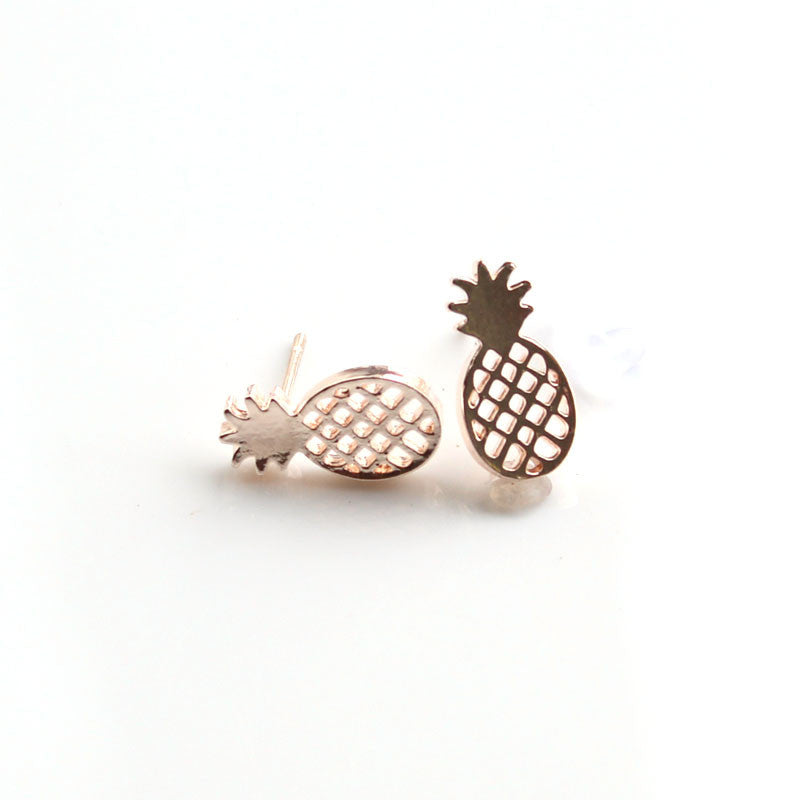 Best Friend Gift Minimalist Decoration Tiny Cute Pineapple Stud Earrings For Women Men BFF Jewelry - Unmanned