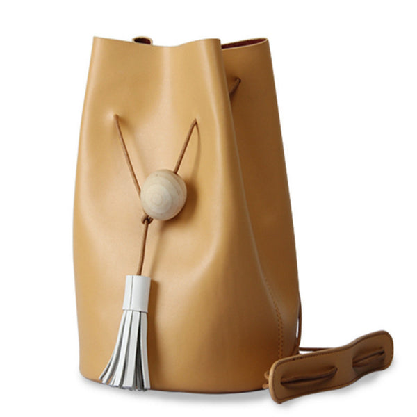 Tassel Drawstring Bucket Bag 100% Genuine Leather - Unmanned - 1
