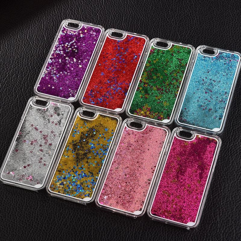 New Fashion Liquid Glitter meteor sand sequins Colorful Dynamic Transparent Hard Mobile Phone cases For iphone4s/5 SE/6 6s/6Plus - Unmanned - 1