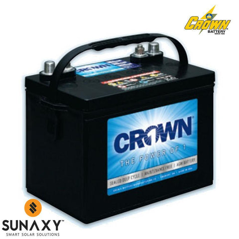Crown: Battery, 12V, 100Ah at C/20, AGM, Crown 12CRV100
