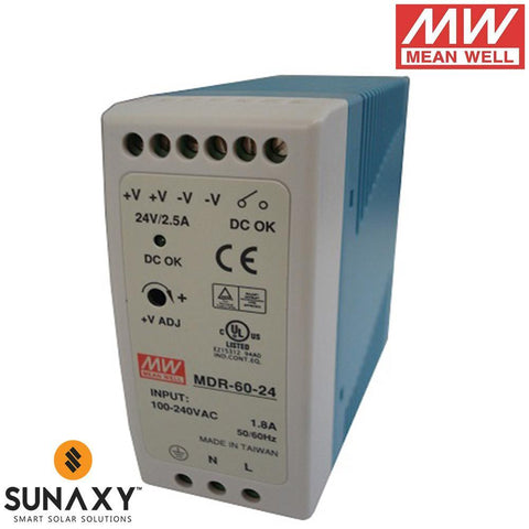 Meanwell: Power Supply, 2.5A, 85-264VAC, 24VDC, MEA MDR-60-24