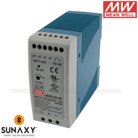 Meanwell: Power Supply, 1.25A, 85-264VAC, 48VDC, MEA MDR-60-48
