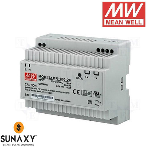 Meanwell: Power Supply, 4.2A, 88-264VAC, 24VDC, MEA DR-100-24