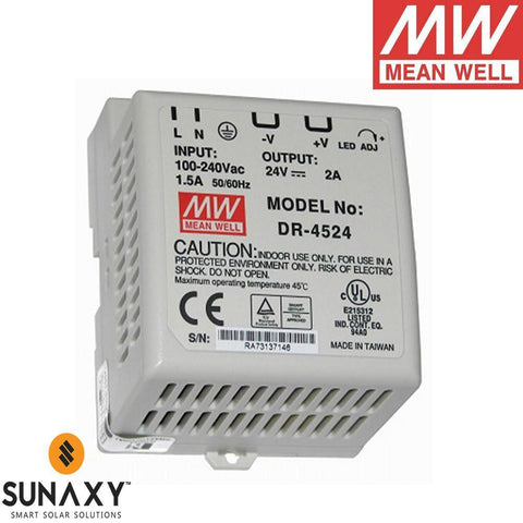 Meanwell: Power Supply, 2A, 85-264VAC, 24VDC, MEA DR-4524