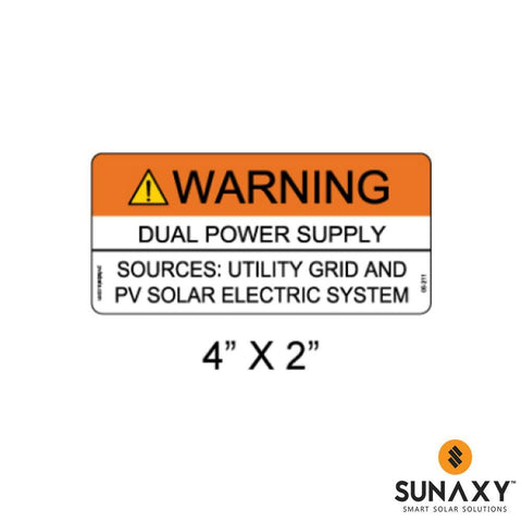 DECAL, DUAL POWER SUPPLY-SOURCES UTILITY GRID AND PV SOLAR ELECTRIC SYSTEM, ORANGE AND WHITE, 4IN x 2IN, 10 PACK
