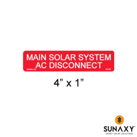 DECAL, MAIN SOLAR SYSTEM AC DISCONNECT, RED, 4IN x 1IN, 10 PACK