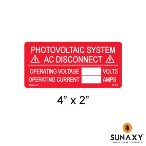 DECAL, PHOTOVOLTAIC AC DISCONNECT INFO LABEL WITH BLANKS, RED, 4IN x 3IN, 10 PACK