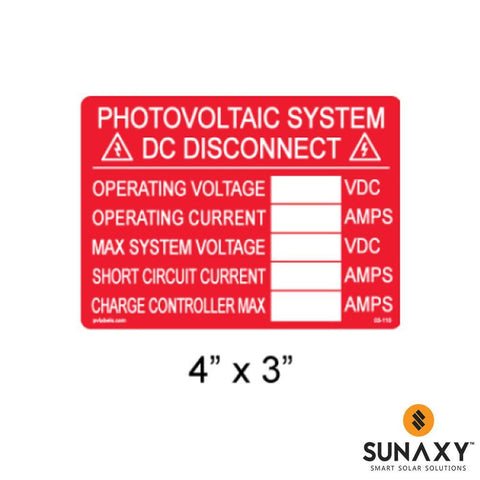 DECAL, PHOTOVOLTAIC DC DISCONNECT INFO LABEL WITH BLANKS, RED, 4IN x 3IN, 10 PACK
