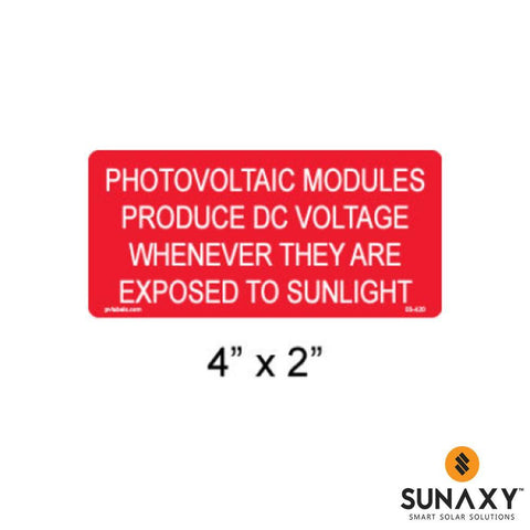 DECAL, PHOTOVOLTAIC MODULES PRODUCE DC VOLTAGE WHEN EXPOSED TO SUNLIGHT, RED, 4IN x 2IN, 10 PACK