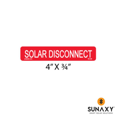 DECAL, SOLAR DISCONNECT, RED, 4IN x 3/4IN, 10 PACK