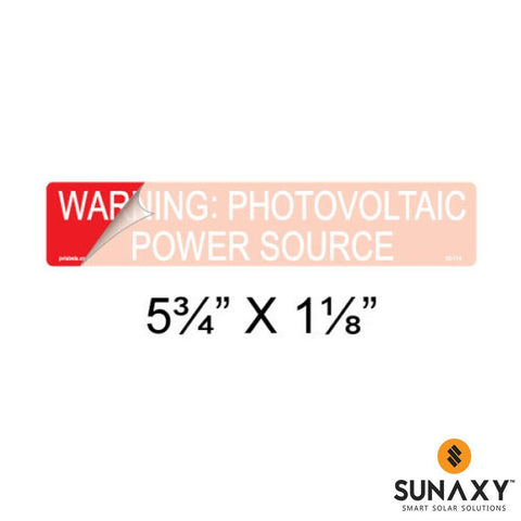 DECAL, WARNING: PHOTOVOLTAIC POWER SOURCE WITH PAINT MASK, RED, 5-3/4IN x 1-1/8IN, 10 PACK