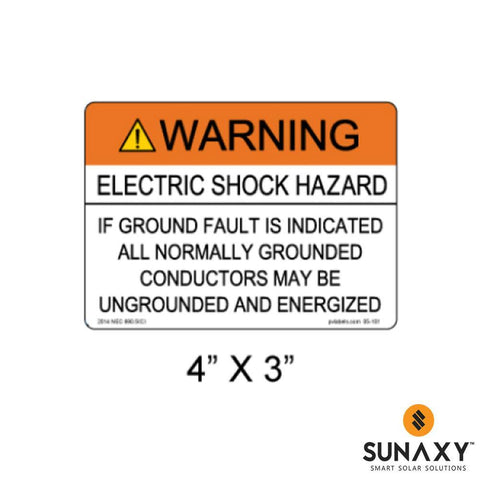 DECAL, WARNING-ELECTRIC SHOCK HAZARD-IF A GROUND FAULT IS INDICATED CONDUCTORS MAY BE UNGROUNDED AND ENERGIZED, ORANGE AND WHITE, 4IN x 3IN, 10 PACK
