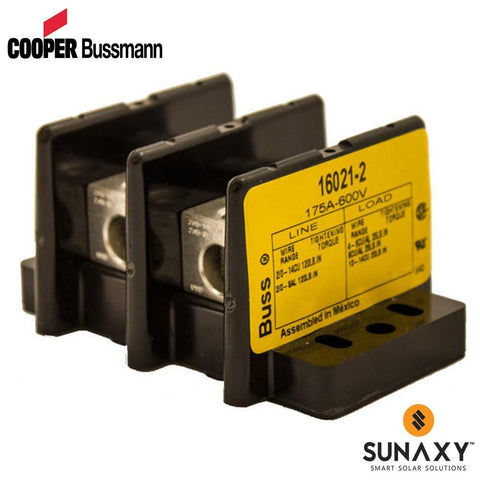 DISTRIBUTION BLOCK, COOPER BUSSMANN, 16021-2, 2-POLE, 2/0AWG PRIMARY (1), 6AWG SECONDARY (6),175A RATING