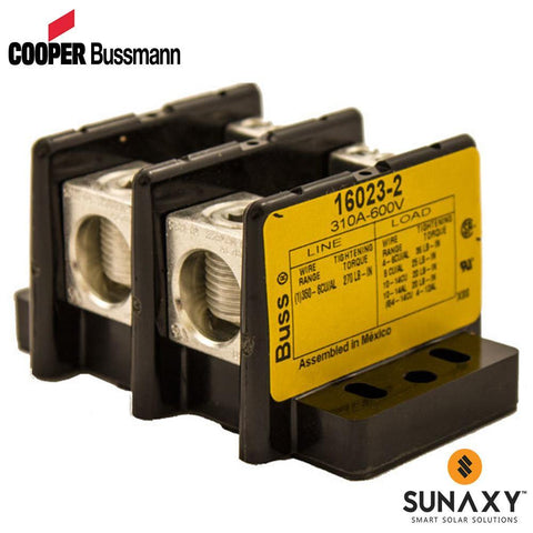 DISTRIBUTION BLOCK, COOPER BUSSMANN, 16023-2, 2 POLE, 6/0 PRIMARY (1), 6AWG SECONDARY (6), 350A RATING