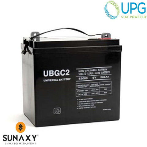 Universal Power Group Inc: Battery, 6V, 200Ah at C/20, AGM, UPG 45966
