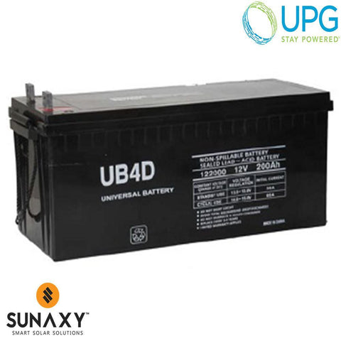 Universal Power Group Inc: Battery, 12V, 230Ah at C/100, AGM, UPG 45965