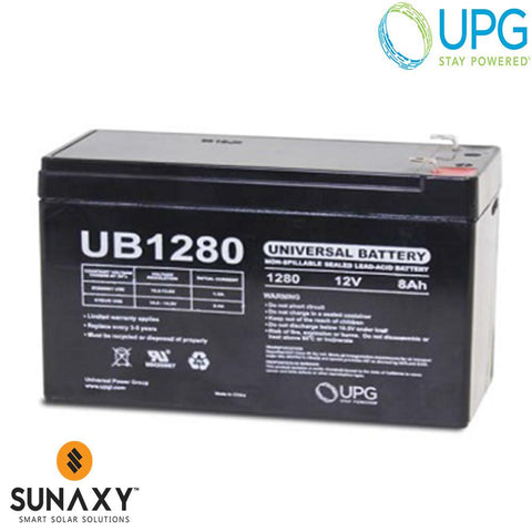 Universal Power Group Inc: Battery, 12V, 8Ah at C/20, AGM, UPG D5743