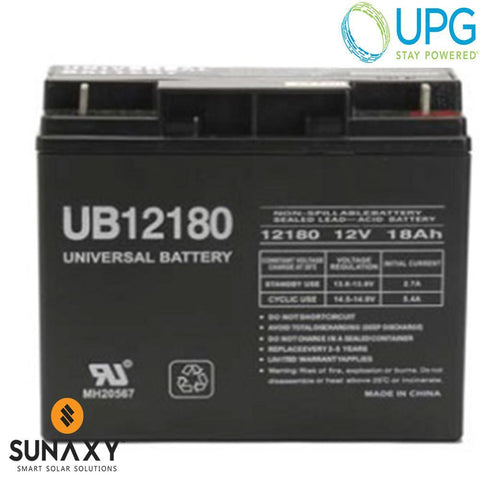 Universal Power Group Inc: Battery, 12V, 18Ah at C/20, AGM, UPG D5745