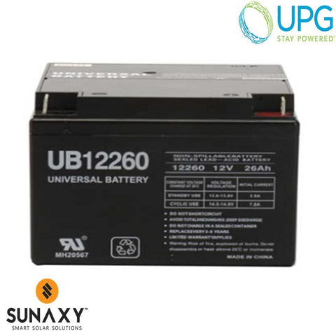 Universal Power Group Inc: Battery, 12V, 26Ah at C/20, AGM, UPG D5747