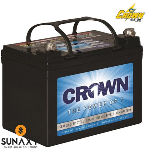 Crown: Battery, 12V, 33Ah at C/20, AGM, Crown 12CRV33