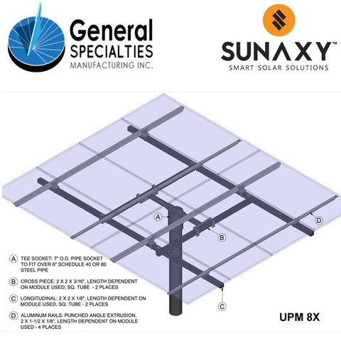 General Specialties UPM 8X Pole Mount (for Panel Sizes: A, B)