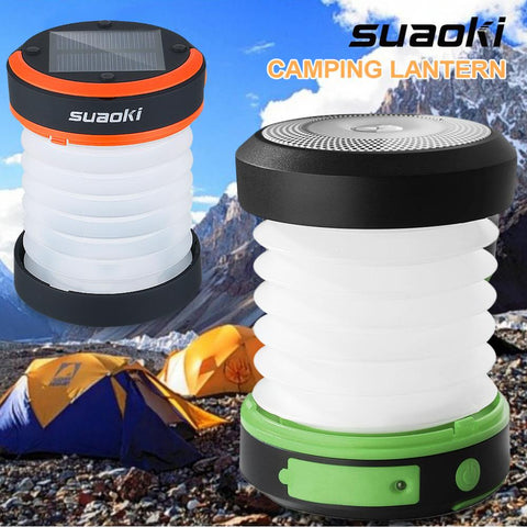 Solar Rechargeable Camping LED Light / USB / Waterproof