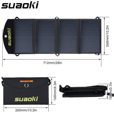 Suaoki Portable 25W Folding Foldable Waterproof Solar Panel Charger Mobile Power Bank for Phone Battery Charger Dual USB Port