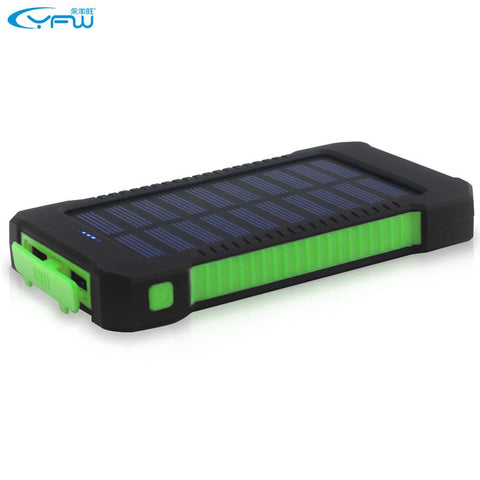 Portable Solar Mobile Charger - Waterproof - 10000mAh - Dual Output USB
