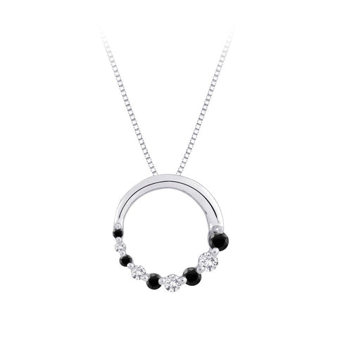 Black & White Diamond Journey of Love Circle Pendant