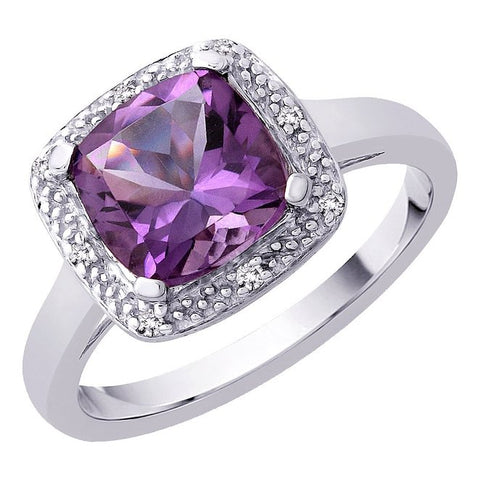 Katarina.com - Cushion Cut 2 3/8 ct. Amethyst and Diamond Halo Ring in Sterling Silver (1/20 cttw)