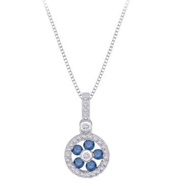 Katarina.com BLUE AND WHITE DIAMOND FASHION PENDANT WITH CHAIN IN STERLING SILVER (1/3 CTTW)