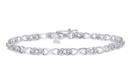 DIAMOND HEART TENNIS BRACELET IN STERLING SILVER (1/4 CTTW)