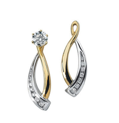 Katarina.com - 14K TWO TONE GOLD 1/5 CT. DIAMOND EARRING JACKETS - Fashion Mom