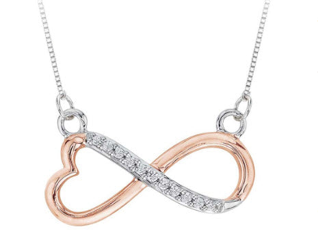 HEART SHAPED INFINITY DIAMOND PENDANT WITH CHAIN IN TWO TONE STERLING SILVER (1/20 CTTW)