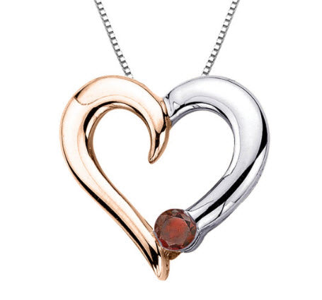 Katarina.com COGNAC DIAMOND HEART PENDANT WITH CHAIN IN TWO TONE STERLING SILVER (1/10 CTTW)