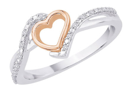 Katarina.com DIAMOND HEART RING IN STERLING SILVER TWO TONE (1/20 CTTW)