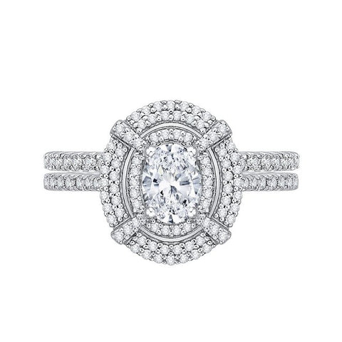 Katarina.com Double Halo Oval Shaped Diamond Bridal Ring