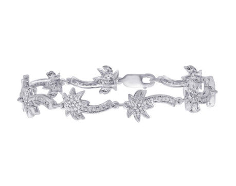 "DIAMOND ""PALM TREE"" TENNIS BRACELET IN STERLING SILVER (1/5 CTTW)"