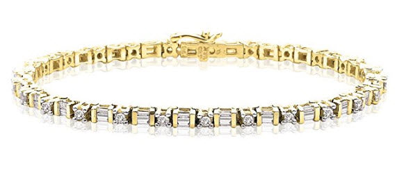 14K Yellow Gold 2 ct. Round and Baguette Cut Diamond Tennis Bracelet