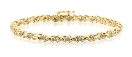 10K YELLOW GOLD 1/4 CT. DIAMOND TENNIS BRACELET - KATARINA