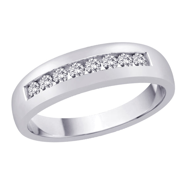 Diamond Men's Wedding Band in 14K White Gold (1/4 cttw)
