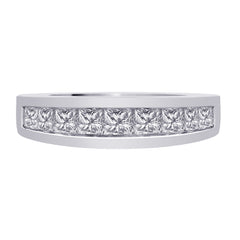 9 Stone Channel Set Princess Cut Diamond Band in 14K White Gold (1 cttw)