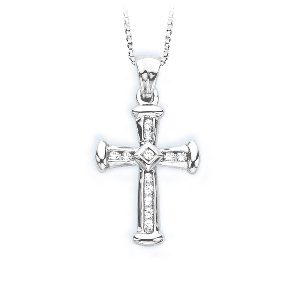 10K White Gold 1/4 ct. Diamond Cross Pendant with Chain